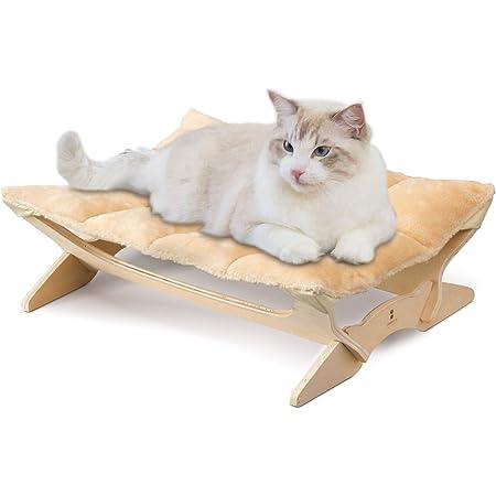 ottostyle.jp 木製 キャットハンモック 【Mサイズ/ベージュ】 猫ベッド 工具不要 組み立て簡単 ふかふかクッション手洗い可能
