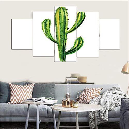 WGSJA Kunstdruk op canvas, vlies, voor eettafel, schilderen, wanddecoratie, foto, plant, cactusmotief, muurstickers en wanddecoratie Large B