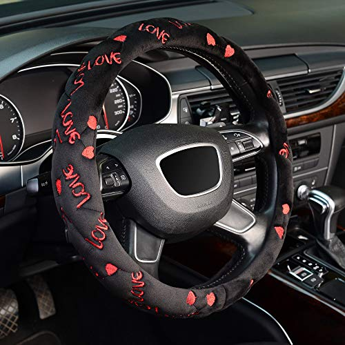 KAFEEK Love Word Microfiber Soft Fluffy Steering Wheel Cover for Lovers , Universal 15 inch Plush Fuzzy Steering Wheel Cover, Winter Warm, Black Red