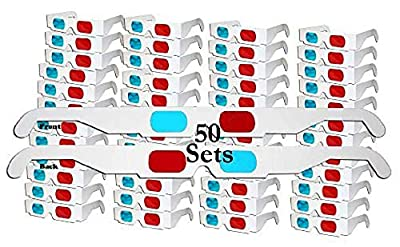 LRRH 50 Pairs - Flat- 3D Glasses Red and Cyan White Frame Anaglyph Cardboard (50 Set)