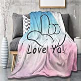 MYSTCOVER American-Sign-Language-I-Love-You Blanket Flannel Lightweight Cozy Couch Bed Novelty Warm Plush Air-Conditioning Quilt for Home Camp Trave Siesta Sofa Throw 50'X40' for Kids