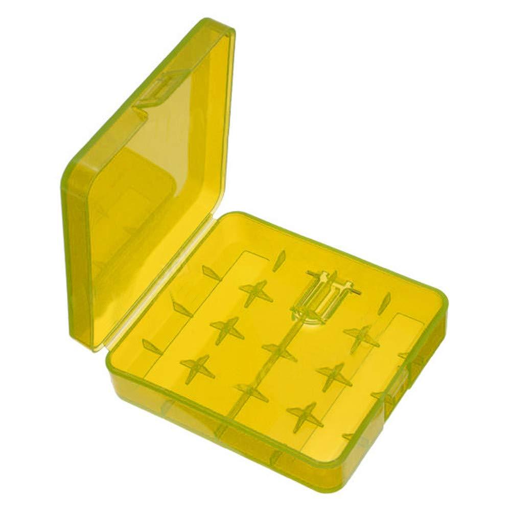 Alecony - Caja de plástico para pilas y pilas 18650, práctica caja para protección y transporte, caja para pilas y baterías, funda protectora, caja de transporte Tamaño libre amarillo: Amazon.es: Hogar