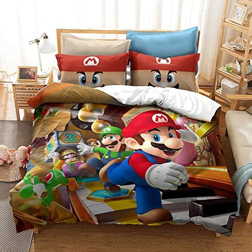 Juego de cama Mario Brothers, diseño 3D de dibujos animados de alta definición, ultra suave, funda de edredón para niños (individual, 135 x 200 cm)