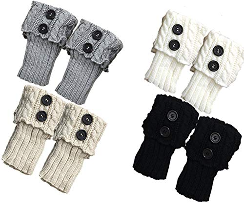Women Short Boots Socks Winter Crochet Knit Leg Warmers Girl Boot Cuffs Socks Short Leg Warmer (4 Pairs-B)