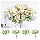 Flores Artificiales, peonía, crisantemo Bola, Clavel, Hortensia, arreglo Floral, decoración Floral, Ramos de Boda,Blanco