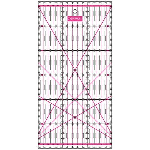 SEMPLIX Patchwork-Lineal Quilt-Lineal, transparent, mit cm-Skala und Winkelfunktionen, ideal für Patchwork und zum Basteln, 30 x 15 cm (pink)