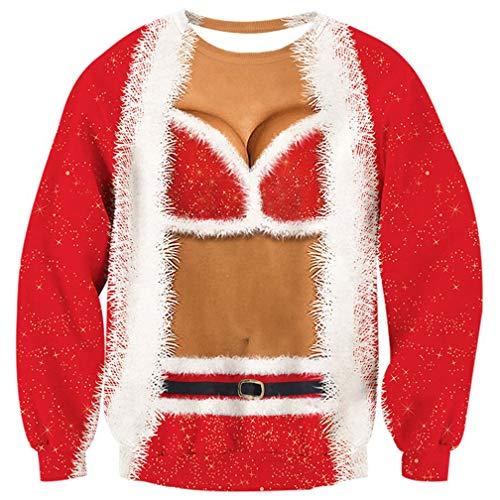 ALISISTER Frauen Mädchen Hässliche Weihnachtspullover 3D Hübsches Bikini Design Weihnachts Pullover Jumper Sweatshirt Gefälschte Zwei Stücke Langarm Ugly Christmas Sweater S