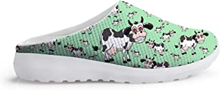 Men's Slippers Mesh Clogs Mules Beach Shoes Funny Cow Animal Smile Green Digital Breathable Sandals Man Leisure Shoes Over...