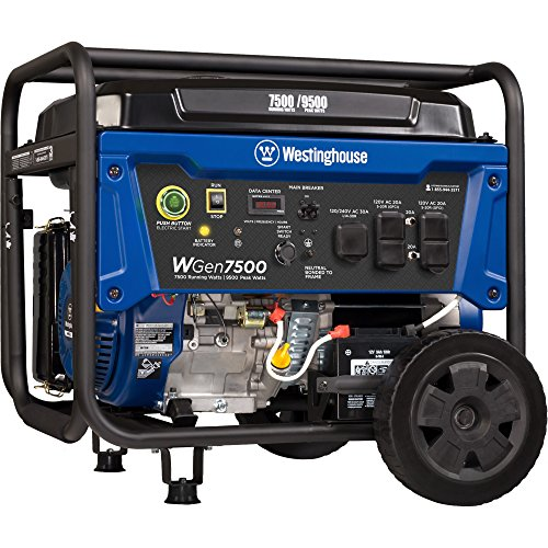 Westinghouse WGen7500 Portable Generator with Remote Electric Start - 7500 Rated Watts & 9500...