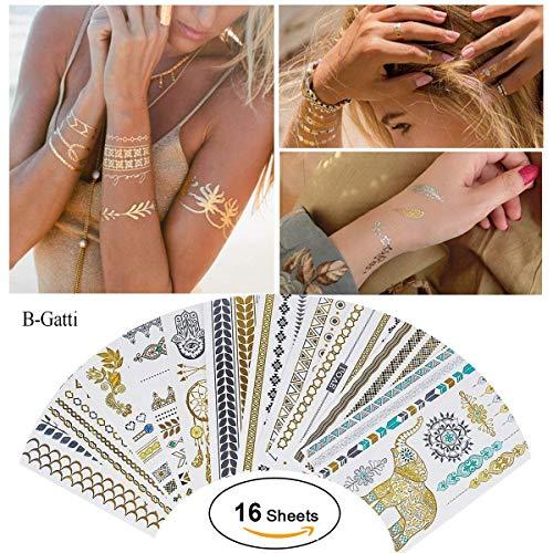 Tätowierung Wasserdicht Metallic Temporäre Tattoo 16sheets in Gold Silber Aufkleber Körper Gefälschte Schmuck Tattoos Über 200 Designs für Frauen Jugendliche Mädchen Body Art (Classic Style)