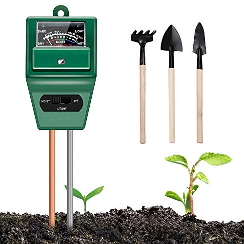 Soil Moisture Meter Plant Test - 3-in-1 Soil Test Kits Moisture/Light/pH Meter for Garden Farm Lawn Planting Hygrometer Moisture Sensor Indoor/Outdoor Digital Plant Thermometer(No Battery Required)