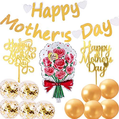 Happy Mothers Day - Guirnalda dorada para el Día de la Madre con 2 adornos dorados y 1 globos de flores de aluminio, 10 globos de látex