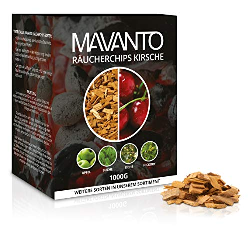 MAVANTO® XXL Profi Räucherchips (Kirsche) für das perfekte Raucharoma - rauchintensive Holzchips aus den USA in 5 verschiedenen Sorten