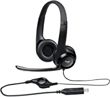 Logitech H390 Wired Headset, Stereo Headphones with Noise-Cancelling Microphone, USB, In-Line Controls, PC/Mac/Laptop -...