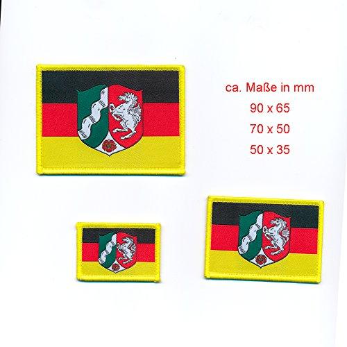 3er Set Deutschland mit NRW Flagge Flag Emblem Patch Aufnäher Aufbügler 0818