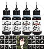 4 Pack Temporary Tattoo Kit, Tattoo Ink & DIY Semi-permanent Tattoos with 81 Pcs Tattoo Stencils