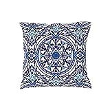 Weiche Pfirsich Wolle Blaue Symmetrie Mandala Rechteckig Kissenbezüge Kissenhülle für Couch...