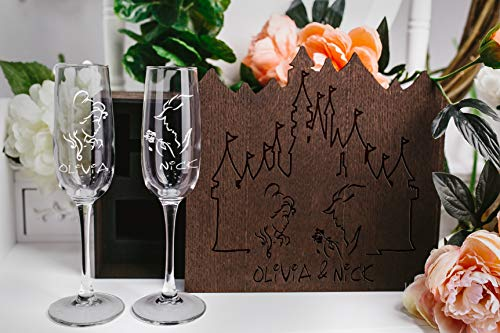 Set of 2 Champagne Toasting Glasses in wood box, Engraved Champagne Glasses Disney wedding, beauty and the beast wedding, rustic wedding glass