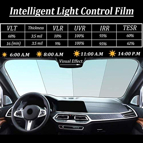 SW Photochromic Window Film Anti UV Intelligent Light Control Adhesive Sunblocking Solar Tint Glass Film for Car Windshield Sides Rear, Home and Office Window, 60in x 20in, VLT 16% - 60%