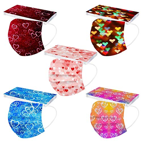 50PCS Valentine's Day Heart Print Disposable Face Mask, Industrial 3 Ply Filter Mask Non-woven Breathable Coronàvịrụs Protectịon Face Masks (L)