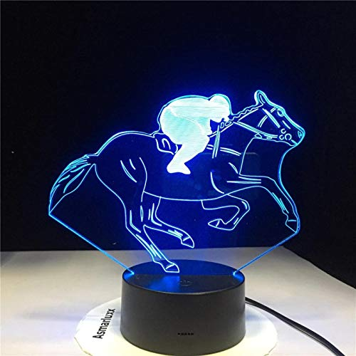 SCNYCUL 3D Night Lights Kids Lamp Horse racing model 7 colors Smart Touch Bedroom Optical Illusion Lamps As a Gift Boys Girls Control Toy Age 4 5 6+ Year Old