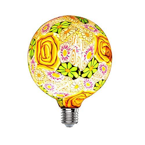 Hobaca® Fleurs En Verre G125 (φ 125mm) E27 Grand LED Edison Ampoule Nouveauté Vacances Salon Décoration Navidad Noël Décor À La Maison Lumières Warm White 2700K, 4W Équivalent 25W, 220V
