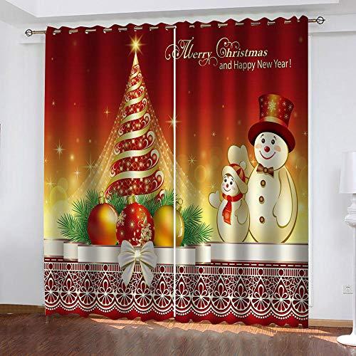 bdbdff 3D Cortinas Opacas Navidad,100% Poliéster Decoracion De Ventanas para Sala De Estar De Dormitorio...