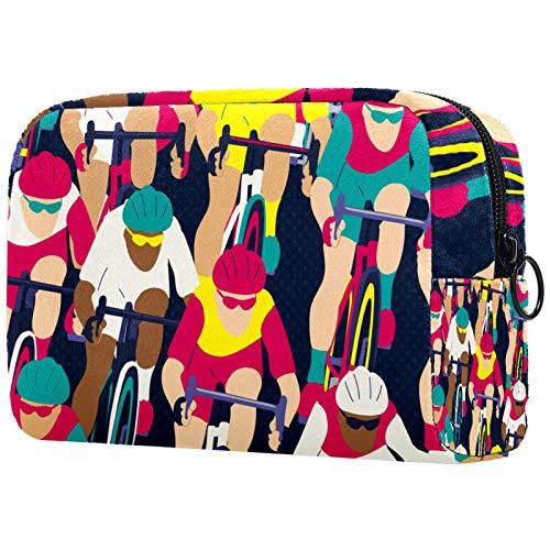 Bolsa de cosméticos Bolsa de Maquillaje Impermeable para Mujer para Viajar, Llevar cosméticos, Cambiar Llaves, etc. Ciclista en la Carrera de Bicicletas