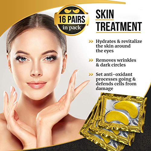 51BpRvlp5AL - Under Eye Patches, 24K Gold Collagen Eye Mask, Dark Circles and Wrinkles Treatment, Anti-aging, Gel Pads for Puffiness and Bags, Immune System Support for Eyes, With Hyaluronic Acid, Deep Moisturizing