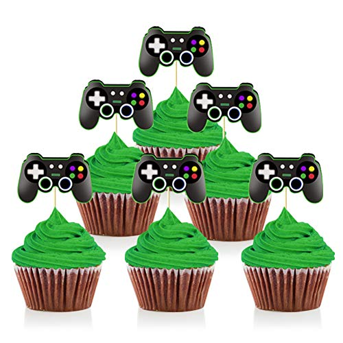 Mity rain Video Game Controllers Cupcake Toppers-Gamepad Cake Picks Game Themed Birthday Anniversary Wedding Engagement Party Decorations(24pcs)