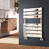 NRG 650 x 500 mm Chrome Designer Flat Panel Heated Towel Rail Radiator