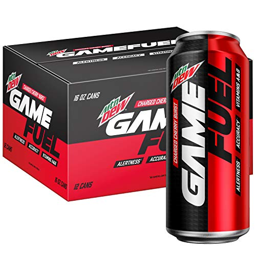Mountain Dew Game Fuel, Charged Cherry Burst, 16 Fl Oz. Cans (12 Pack) (Packaging May Vary), 192 Fl Oz