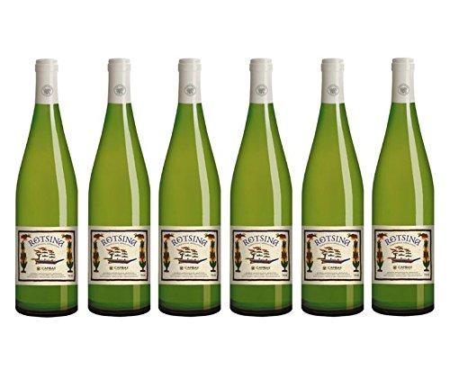 6x Cambas Retsina Weiß trocken je 750ml 11,5% geharzter Weißwein weißer Wein Griechenland + 2x Probier Sachet Olivenöl aus Kreta a 10 ml