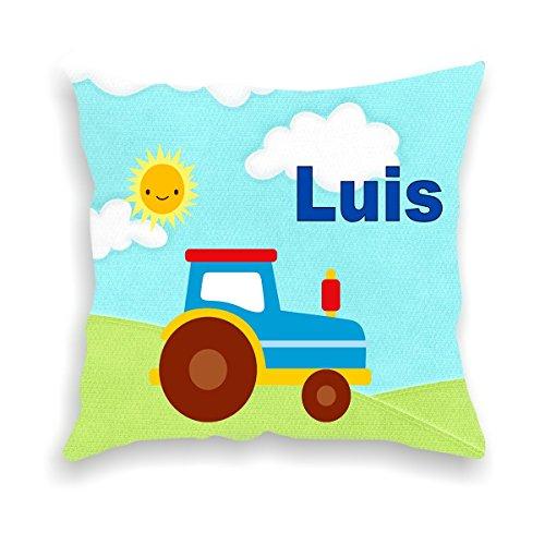 wolga-kreativ Kissen-bezug Deko-Kissen Traktor Trekker 40x40 cm incl. Füllung Namenskissen Geschenk-e Baby-Kissen Kinder-Kissen Kinderzimmer Babyzimmer Mädchen Junge-n mit Namen (flauschig)