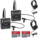 2X Tascam DR-10L Studio Recorder Lavaliere Microphones + 2X TH-02-B Headphones + 2X Sandisk 32GB Audio Bundle