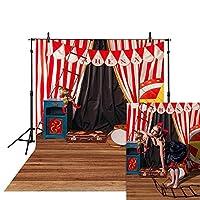 肖像画の家の装飾カーテンの写真の背景の肖像画の写真 赤白ストライプ 背景パーティー写真写真ブース背景折りたたみ サーカスのピエロ 新生児のシャワー背景バナー写真撮影スタジオ小道具ビニール写真ビデオスタジオ アリーナ