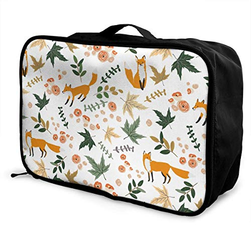 Qurbet Reisetaschen,Reisetasche, Travel Luggage Trolley Bag Portable Lightweight Suitcases Duffle Tote Bag Handbag, Foxes and Autumn Leaves Pattern