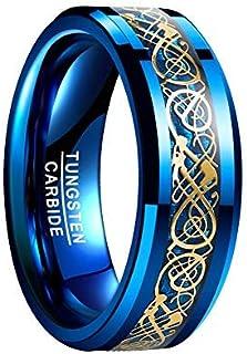 VAKKI 8 مم رجل سيلتك تنين كربيد التنجستين خاتم زفاف ازرق/اسود ألياف الكربون خاتم الخطوبة حجم 5-14