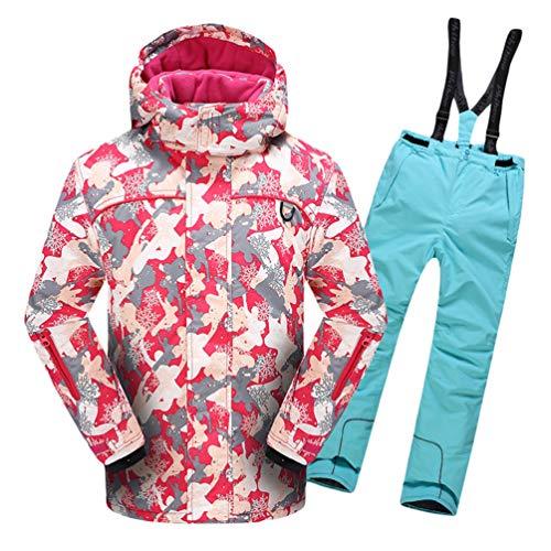 Lvguang Jungen & Mädchen Berg Wasserdicht Warm Skibekleidung Winddicht Regen Schnee Kapuzenjacke & Skihose (Himmelblau#7, Asia 2XL)