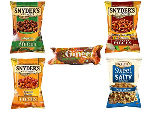 Snyders Brezeln 4er Pack - je 125 g - Jalapeno, Honig-Senf-Zwiebel, süß-salzig, Cheddar-Käse mit KOSTENLOSEM Munchee-Ingwer-Keks