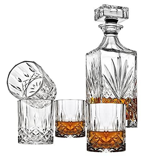 JOLIGAEA Juego de Jarra de Whisky, Juego de 5, 700 ml Decantador de Whisky Cristal Sin Plomo de 4 Vasos de 310 ml, Perfecto fara Los Amantes Del Whisky