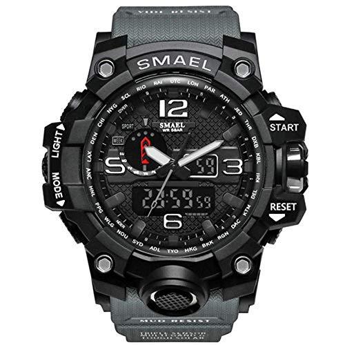 Herren Digital Armbanduhr Militärsport analog digital Chronograph für Herren großes Zifferblatt 56 mm wasserdicht LED-Harz-Armband grüne Uhr