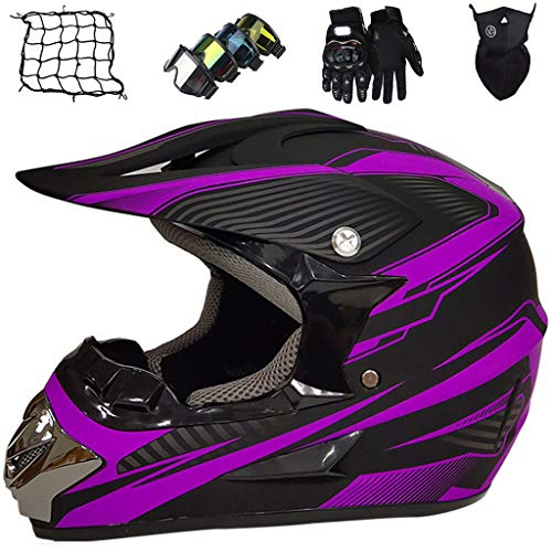 Conjunto Casco Motocross Niños, Casco de Motocicleta Integrales Adultos - Normas Seguridad ECE R22.05 - Casco de Moto de Descenso MX MTB Enduro Off Road Dirt Bike Downhill - Unisex - Negro Mate Azul
