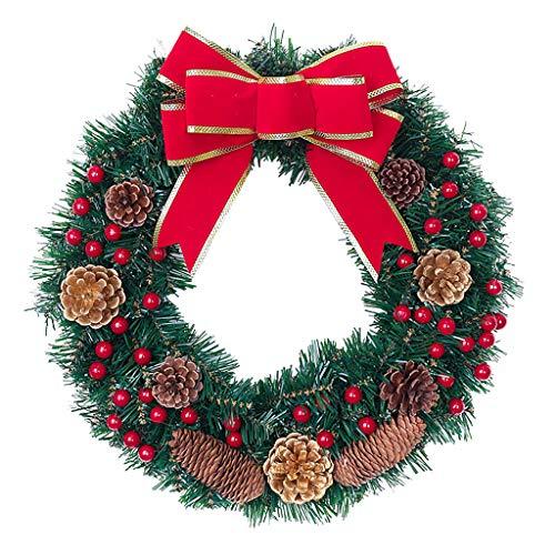 Weihnachtsgirlande, Künstlicher Kranz Türkranz Girlande Dekokranz Wandkranz Kränze Weihnachtskranz Hängend Weihnachtsdekoration für Deko, Weihnachten, Advent, als Stimmungslicht, Türkranz (D)