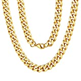 ChainsPro Collier Chaîne Homme Or 18 Carat 9MM,Collier Grosse Maille...
