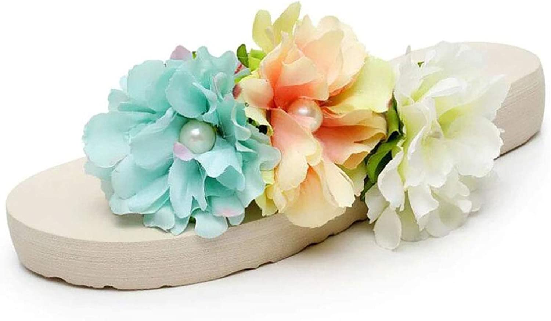 Platform Slipper Beach Bohemia Stereoscopic Flower Summer Wedge shoes Flip Flops
