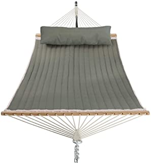 PATIO WATCHER 11 Feet Quilted Fabric Hammock with Pillow Double 2 Person Hammock with Bamboo Spreader Bars, Perfect for Ou...