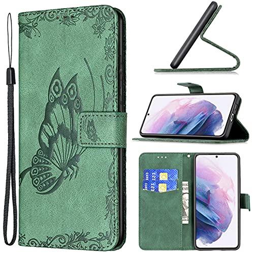 Hancda Funda para Samsung Galaxy S21 Plus [no para S21], funda de piel con tapa con diseño de mariposa, tarjetero, funda plegable para Galaxy S21 Plus, color verde