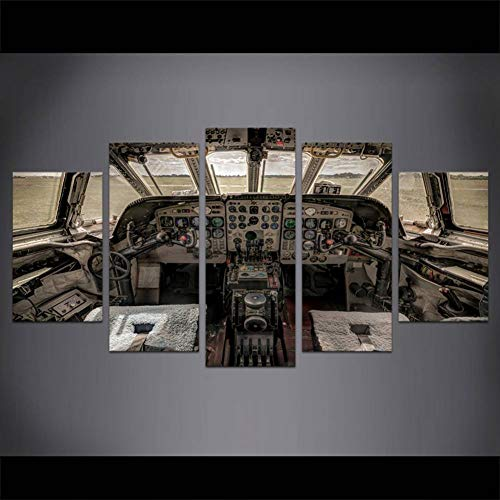 RMRM Arte de Pared Avión Cabina Cuadro Antiguo Pintura Digital Decoración para el hogar 5 Piezas Tablero de Control de avión Impresiones de Lienzo Marco 30x40cm 30x60cm 30x80cm