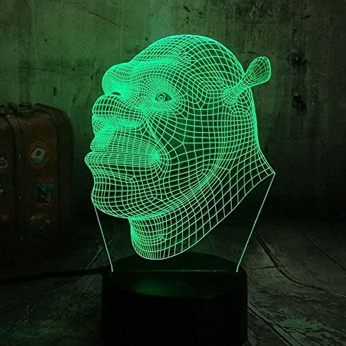 Shrek 3D Night Light Creativity Optical Illusion Lamp 20 Colors Changing with Smart Touch & Bluetooth Control Children's Mood Light Home Decoration Perfect Holiday Gift
